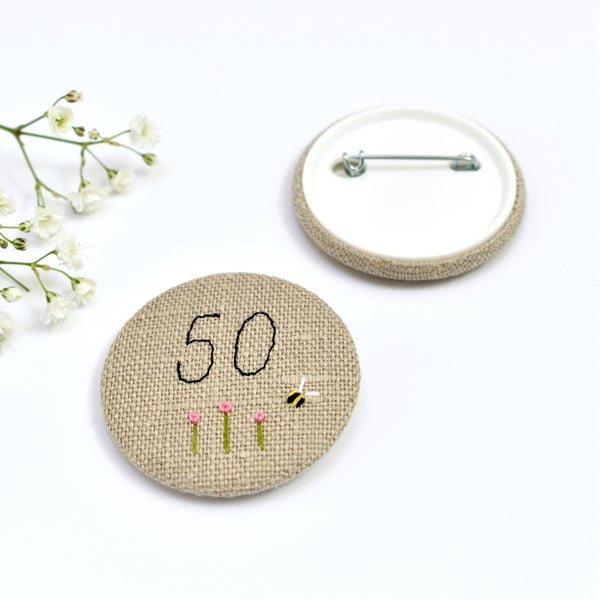 50th Birthday badge, embroidered, badge, personalised birthday badges handmade by Stitch Galore