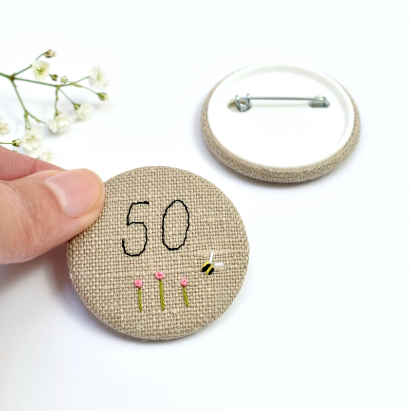 Personalised birthday badge, 50th Birthday badge, embroidered badge handmade by Stitch Galore