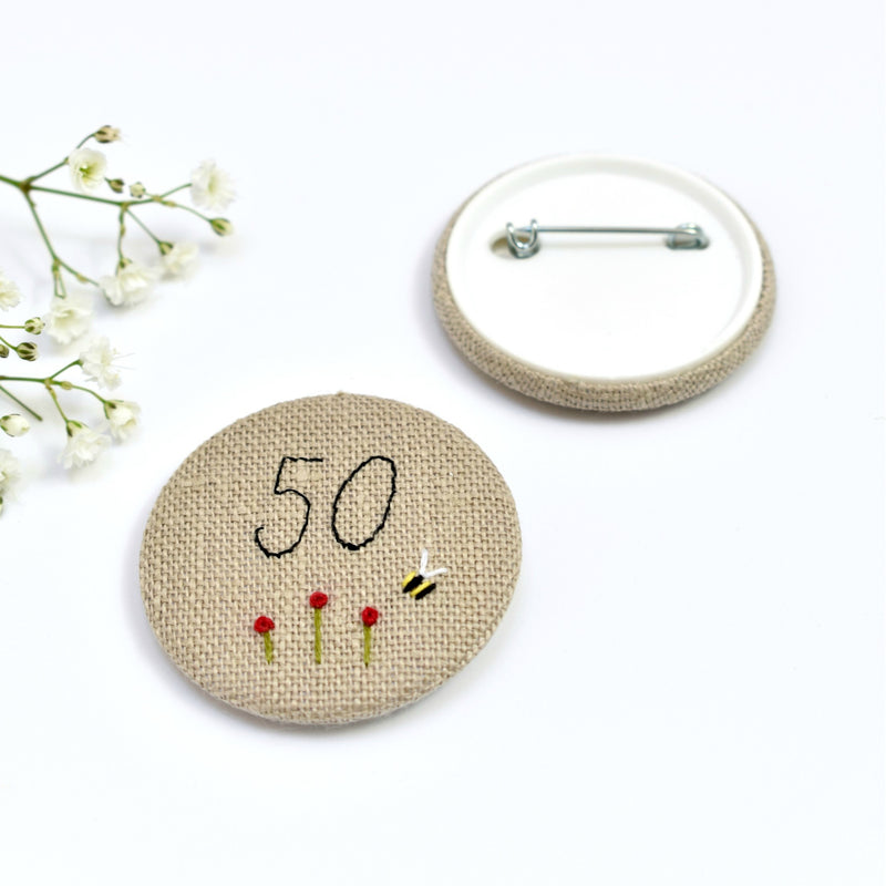 50th Birthday badge, embroidered birthday badge, personalised birthday badges handmade by Stitch Galore