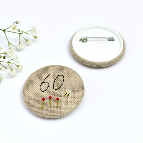60th Birthday badge, embroidered, badge, personalised birthday badges handmade by Stitch Galore