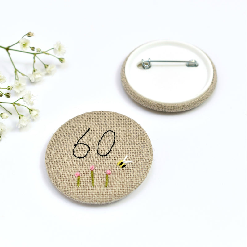 Embroidered 60th Birthday badge, embroidered badge, personalised birthday badges handmade by Stitch Galore