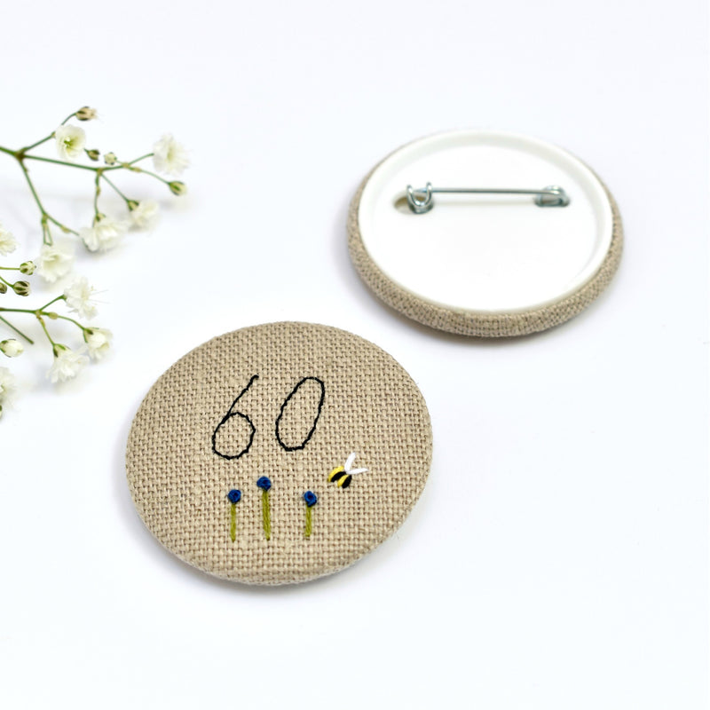 60th Birthday badge, embroidered birthday badge, personalised birthday badges handmade by Stitch Galore