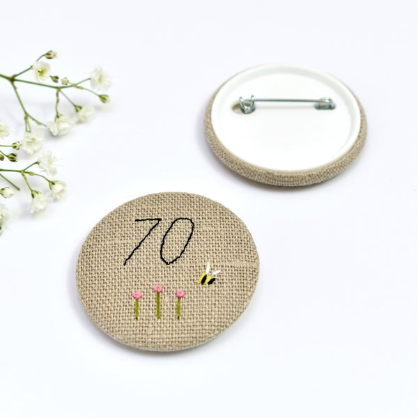 70th Birthday badge, embroidered birthday badge, personalised birthday badges handmade by Stitch Galore