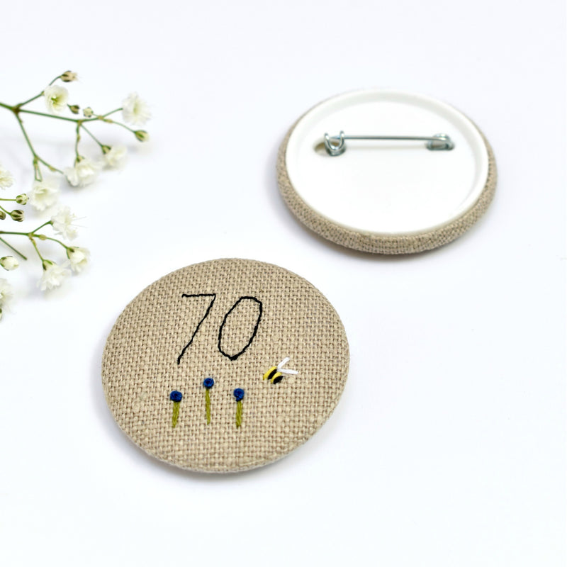 70th Birthday badge, embroidered, badge, personalised birthday badges handmade by Stitch Galore