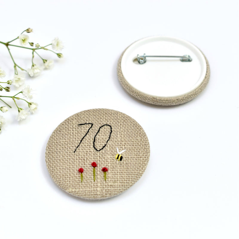 Embroidered 70th Birthday badge, embroidered badge, personalised birthday badges handmade by Stitch Galore