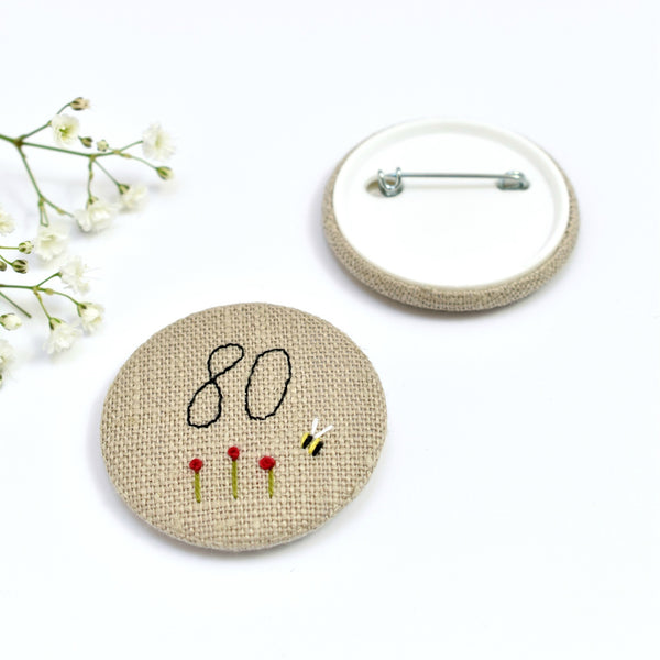 80th Birthday badge, embroidered, badge, personalised birthday badges handmade by Stitch Galore