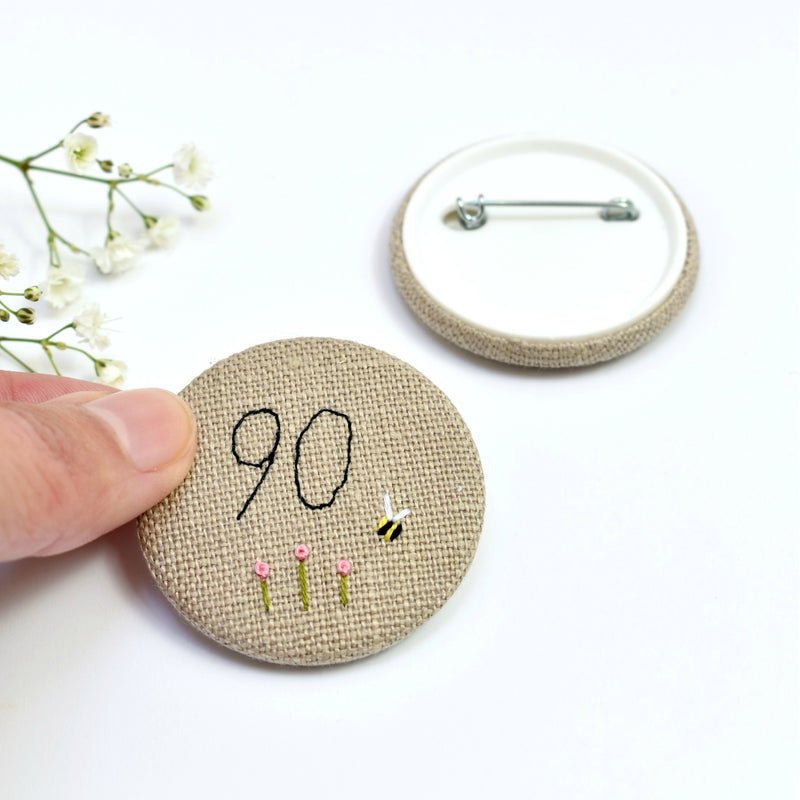 Personalised birthday badge, 90th Birthday badge, embroidered badge handmade by Stitch Galore