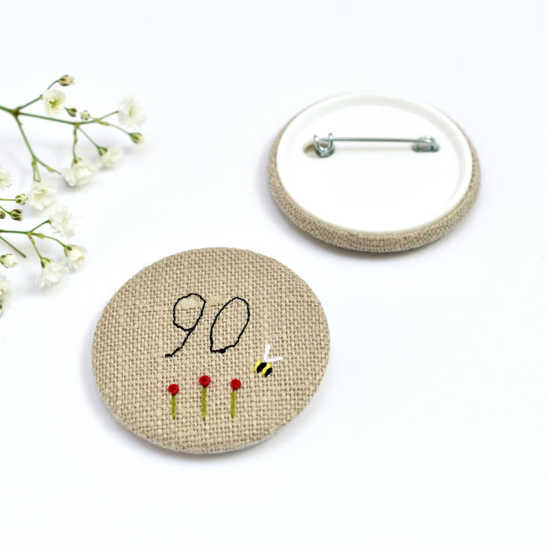 90th Birthday badge, embroidered birthday badge, personalised birthday badges handmade by Stitch Galore