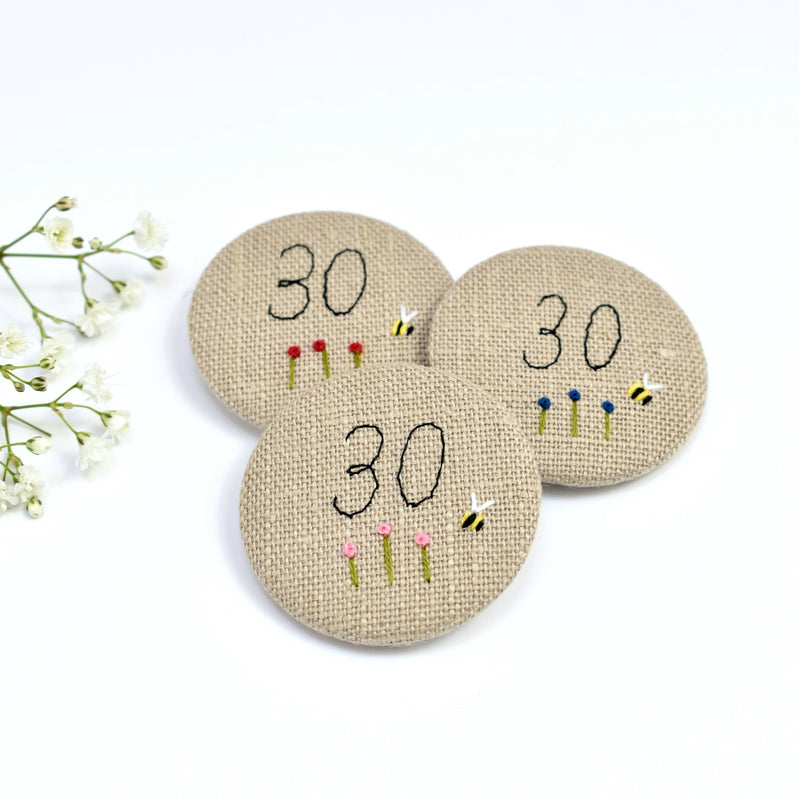 30th Birthday badge, embroidered, badge, personalised birthday badges handmade by Stitch Galore