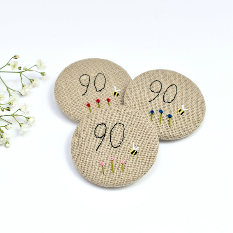 90th Birthday badge, embroidered, badge, personalised birthday badges handmade by Stitch Galore