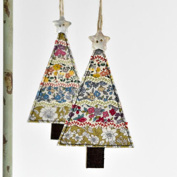 Sewn fabric Christmas tree decoration handmade by Stitch Galore