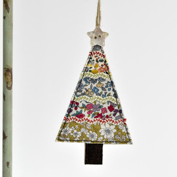 Embroidered Christmas tree decoration handmade by Stitch Galore