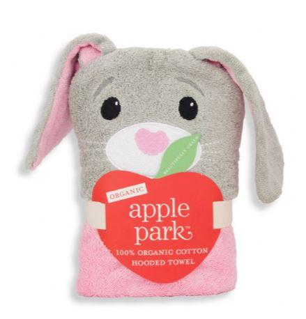 Bunny-themed hooded towel shown in its packaging
