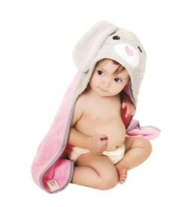 photo of toddler wearing a hooded bunny themed towel