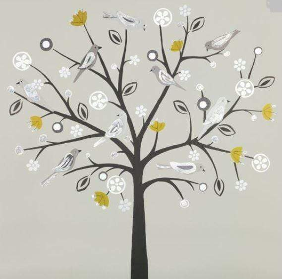 Canvas print of birds in a tree using silver and mustard tones