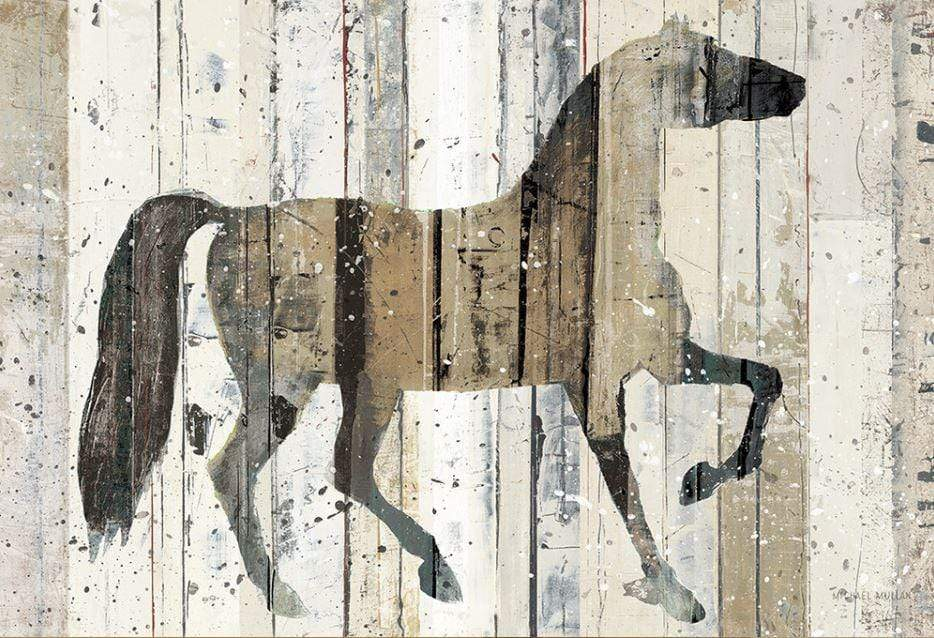 Canvas print of a Stallion with wood panel effect
