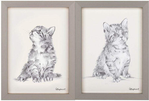 A set of two framed kitten  prints