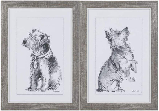 Pair of dog framed prints