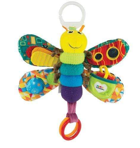 Colourful baby toy mobile that can be hung above a baby crib. Made by Lamaze