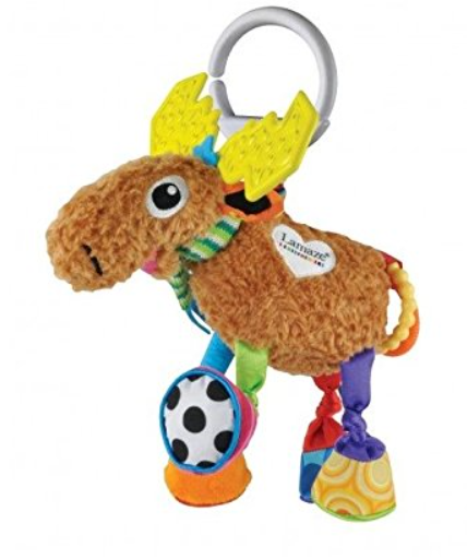 Colourful Moose soft toy with different textures. Made by Lamaze