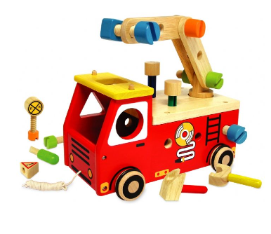 wooden toy fire engine made by I'm toys