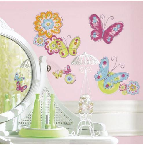 Butterfly themed stickers for childs' room