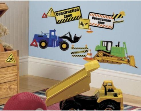 Construction themed wall stickers for boys room.