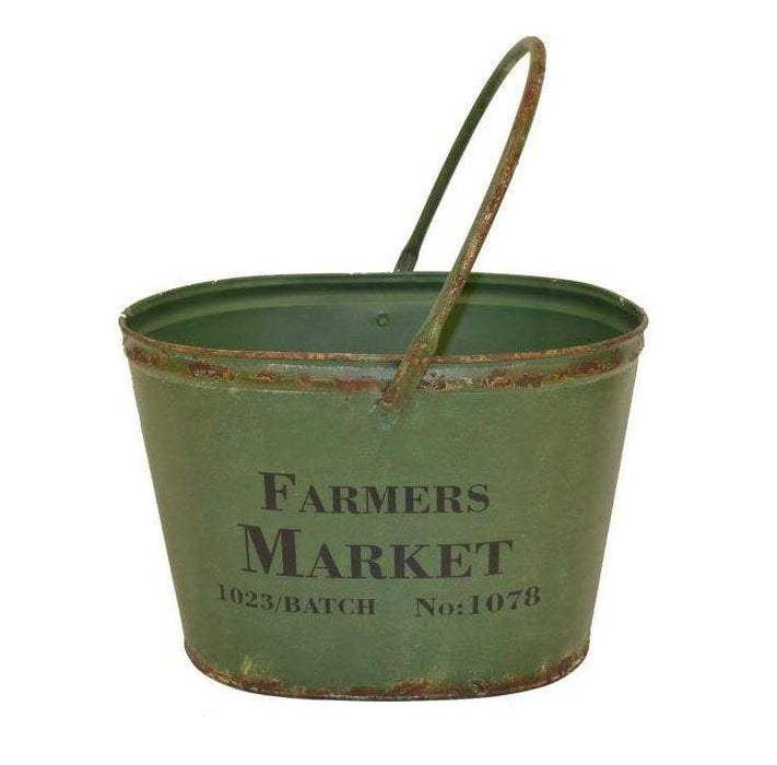 Farmer's market bucket for planting flowers or general landscaping