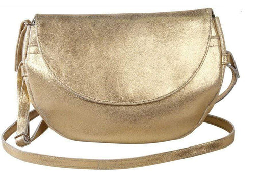 Ladies gold iridescent evening bag with long strap
