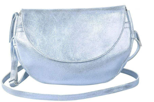 Ladies sky-blue iridescent evening bag with long strap