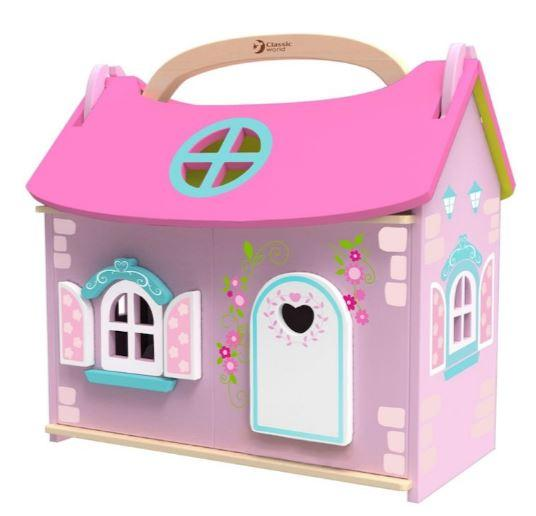 Portable pink doll's house