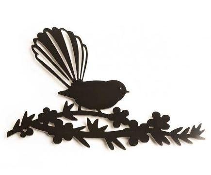 Silhouette Art - Fantail on a manuka branch.