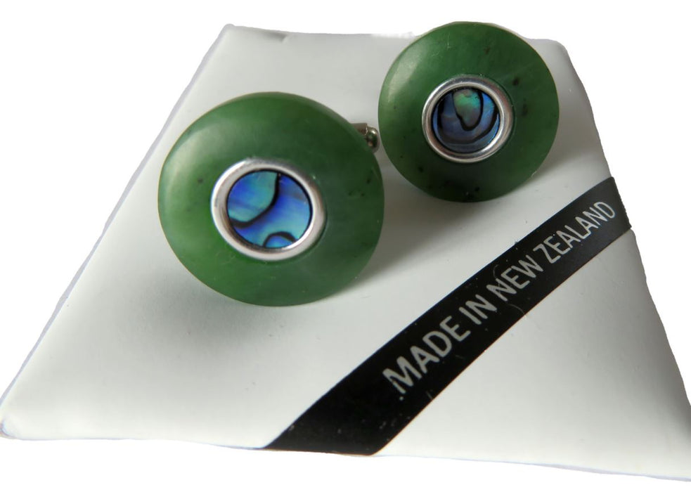 Greenstone Kiwi Creations - Greenstone and Paua round cufflinks