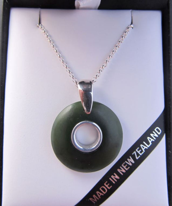 Greenstone Kiwi Creations -  Round Doughnut Shaped  Pendant with Silver Inlay.