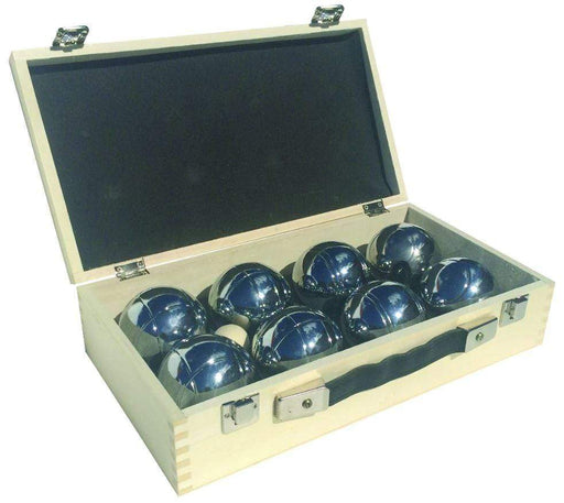 Family boules set in wooden box