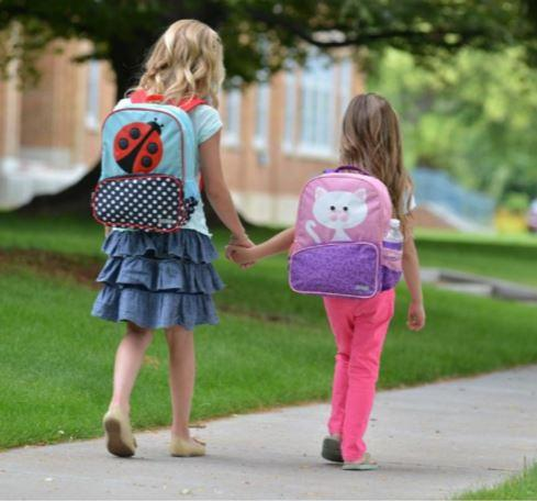 Photo showing young girl wearing lady bug backpack