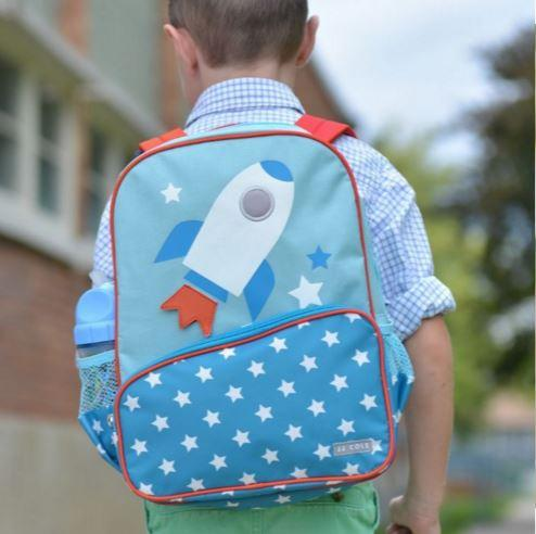 The JJ Cole Collection - Rocket Backpack shown being worn by a small boy
