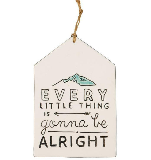 "Ceramic wall plaque with the words ""everything is going to be alright"""