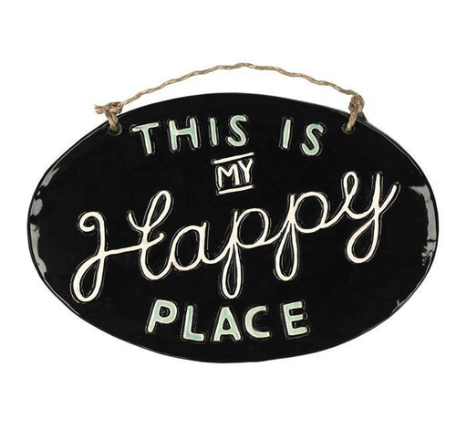 "Ceramic wall plaque with the words "" This is my happy place"""