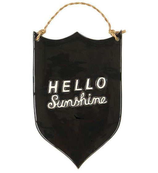 "Ceramic wall plaque with the words ""Hello Sunshine"""