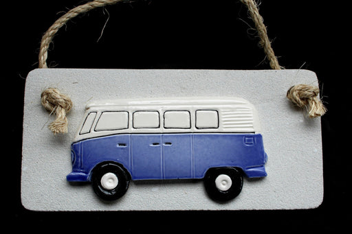 Blue VW Kombi wall hanging on stone plaster