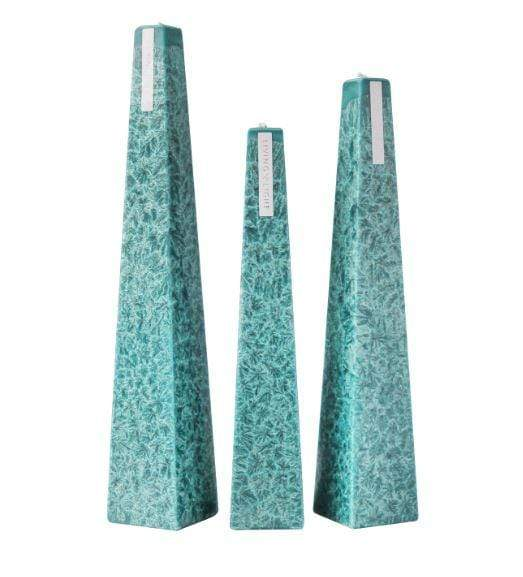 Full set of turquoise coloured deluxe crystalline long burning candles- small