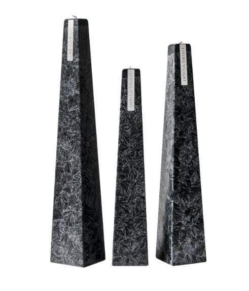 Full set of black coloured deluxe crystalline long burning candles- small