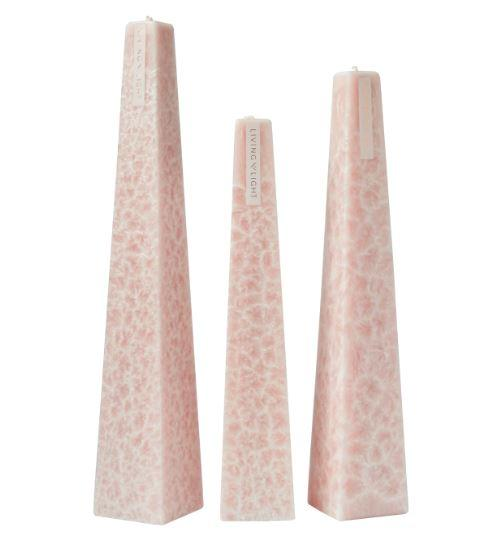 Full set of pink coloured deluxe crystalline long burning candles- small