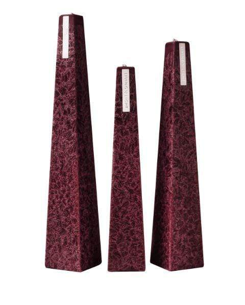 Full set of burgundy coloured deluxe crystalline long burning candles- small
