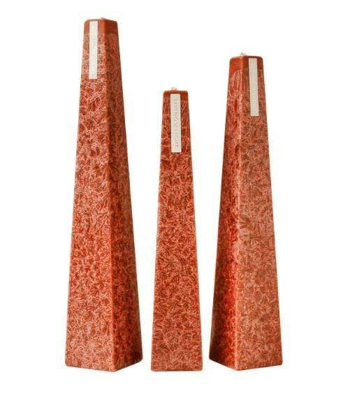 Full set of orange coloured deluxe crystalline long burning candles- small