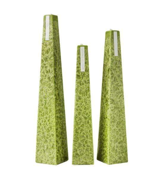 Full set of green coloured deluxe crystalline long burning candles- small