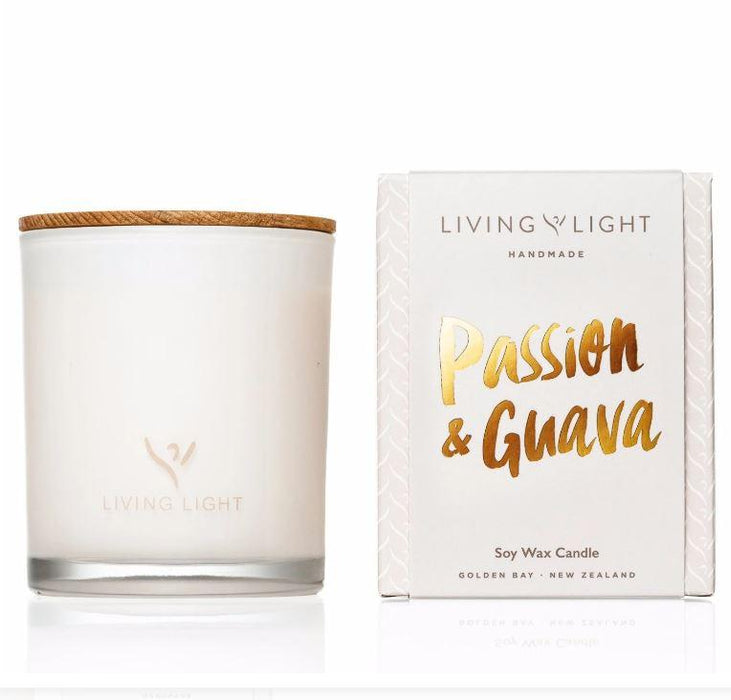 Soy candle in a glass jar, passion and guava fragrance