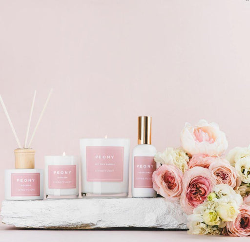 The Peony Full Collection.  2 Soy Wax Candles, Diffuser and Room Spray