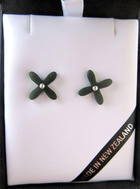 Greenstone Tapa Stud Earrings. Shown in attractive gift box